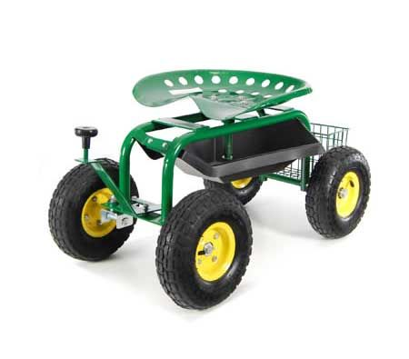 ... Adjustable Rolling Garden Seat On Wheels With Handle Control