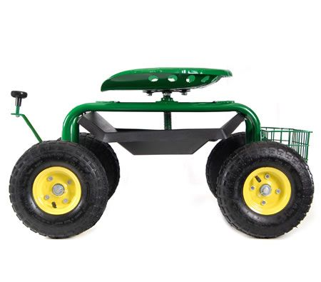 Adjustable Rolling Garden Seat on Wheels with Handle Control Image