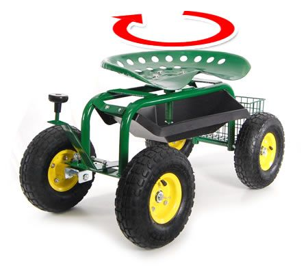Adjustable Rolling Garden Seat On Wheels With Handle