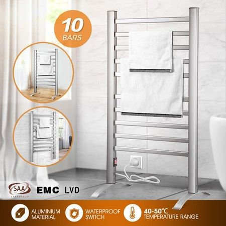 2-in-1 Electric Heated Towel Rail Bathroom 10 Bars Rack Warmer Free Standing Wall Mount