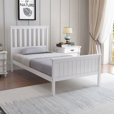 Single Size Wooden Bed Frame Pine Platform Mattress Base w/Headboard - White