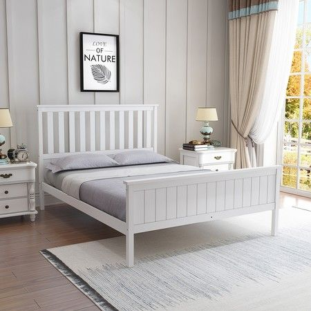 reputable site 8e6cb e48f8 Queen Size Wooden Bed Frame Pine Platform Mattress Base w/Headboard - White