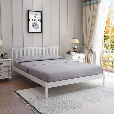 Wooden Bed Frame Double Size Mattress Base Pine Platform Bedroom Furniture - White