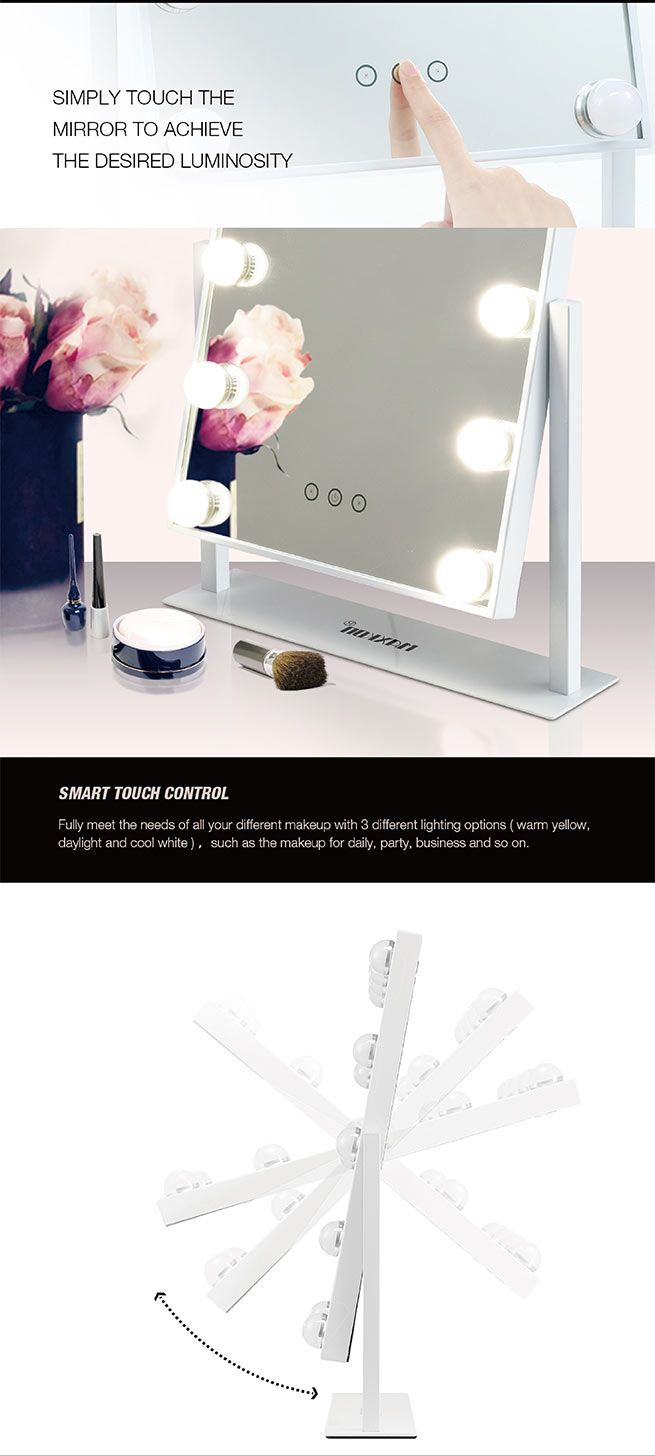 Maxkon Hollywood Style Makeup Mirror 12 Led Lights Vanity