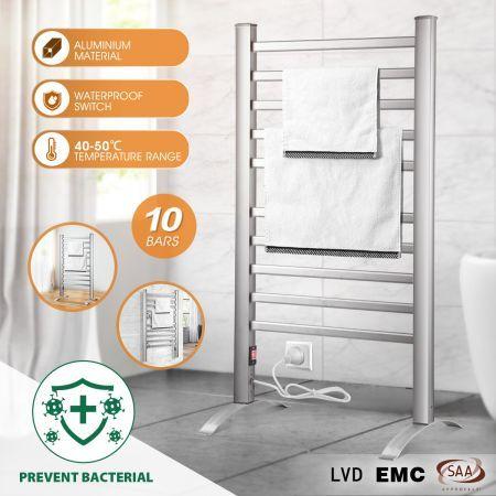 2 In 1 Electric Heated Towel Rail Bathroom 10 Bars Rack Warmer Free Standing Wall Mount Crazy Sales