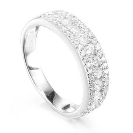 Three Row Cubic Stone Wedding & Eternity Ring