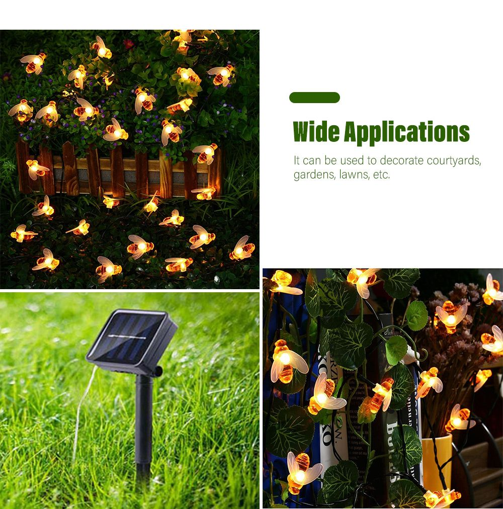 Solar Powered Bee LED String Light Outdoor Decoration