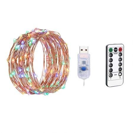 LED Remote Control USB Powered Copper Wire String Lights