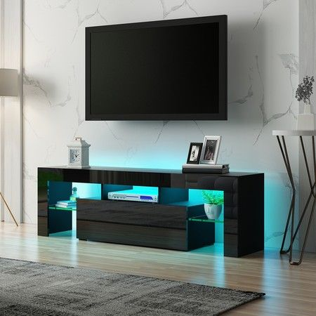 130cm TV Stand Cabinet LED Entertainment Unit Gloss Wood Storage Drawer - Black