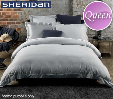 Sheridan Mode Living Queen Bed 300TC Cotton Tailored Quilt Cover Set - Rousseau Design