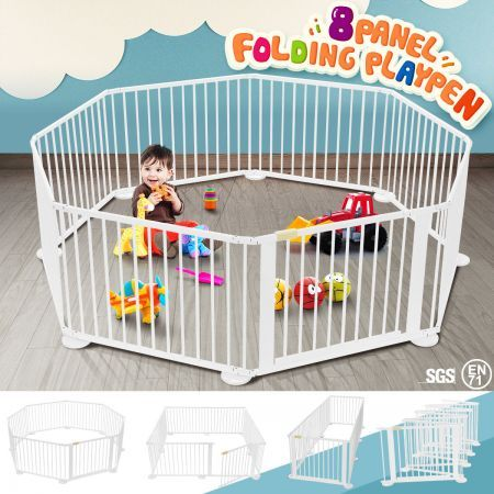 8 Panel Wooden Playpen Kids Baby Toddler Fence Play Yard-White