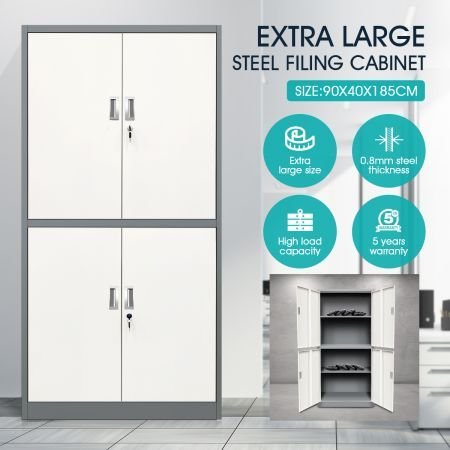 Dark Grey and White Filing Cabinet Document Storage Lockable Doors Adjustable Shelves