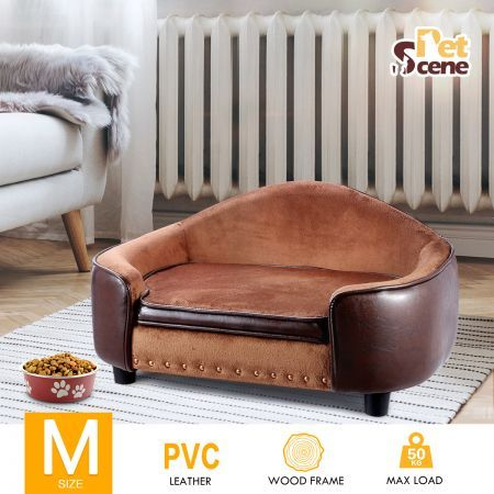 Medium Size Pet Bed PVC Leather Dog Cat Bed Sofa Couch Puppy Lounge w/Storage Space