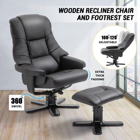 Peachy Luxdream Home Office Recliner Chair Pu Leather Armchair Lounge Sofa Couch Ottoman Footrest Ncnpc Chair Design For Home Ncnpcorg