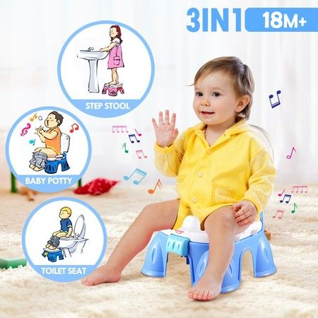 3-in-1 Baby Toddler Toilet Trainer Kids Potty Training Safety Music Seat Chair - Blue