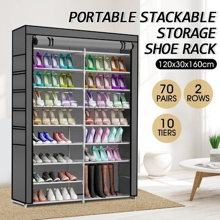 Shoe Rack Storage Organiser 2 Columns 10 Layers Non-woven Fabric Cover-Grey