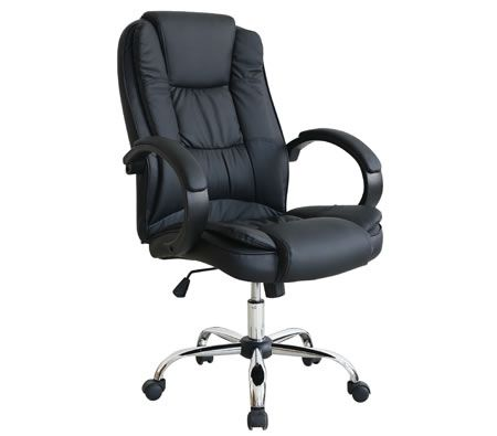 High Back Adjustable PU Leather Executive Office Chair with Arm Rests - Black - 7307_BK