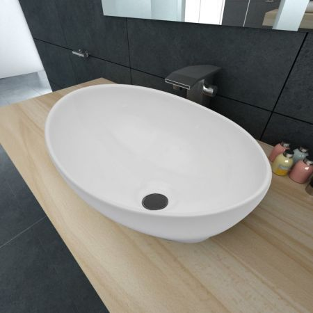 vidaXL Luxury Ceramic Basin White 40 x 33 cm