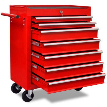 Workshop Tool Trolley 7 Drawers Red
