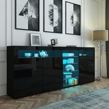 200cm Black Buffet Sideboard Modern 3 Doors Cabinet Storage Cupboard Gloss Front Table w/RGB LED
