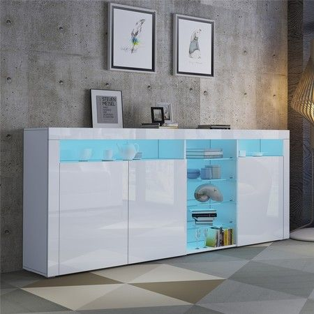 200cm White Buffet Sideboard Modern 3 Doors Cabinet Storage Cupboard Gloss Front Table w/RGB LED