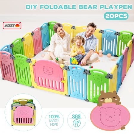 ABST 20 Sided Panel Kids Baby Playpen Interactive Baby Room Foldable Safety Gates Bear Design