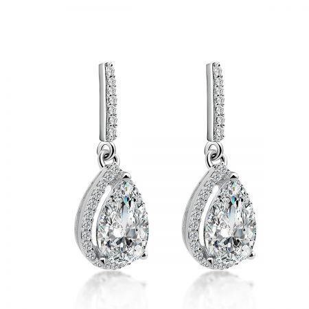 Sterling Silver Drop Earrings with Halo Pear Shaped Zulastone