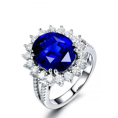 Royal Blue Round Cubic Zulastone Simulated Sapphire For Women Promise Ring Sterling Silver