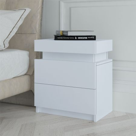 White Bedside Table Cabinet 2 Drawers Nightstand Side Storage Wood Bedroom Furniture