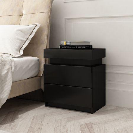 Black Bedside Table Cabinet 2 Drawers Nightstand Side Storage Wood Bedroom Furniture Crazy Sales
