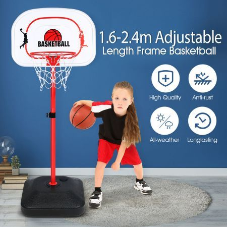 1.6m-2.4m Large Kids Portable Basketball Hoop Stand System Set Adjustable Height Net Ring Ball