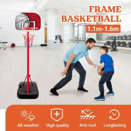 1.1m/1.6m Kids Portable Basketball Hoop Stand System w/Adjustable Height
