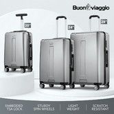 3 Pcs Travel Luggage Set Suitcase Metal Grey Hard Shell Case Lightweight Spinner w/TSA Lock