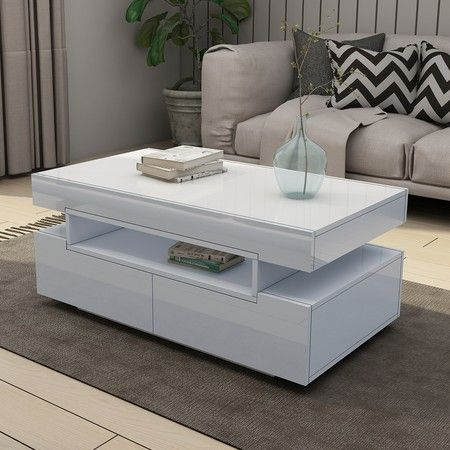White Gloss Coffee Table With Storage 10