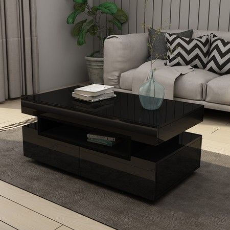 New Modern Black Coffee Table 4-Drawer Storage Shelf High Gloss Wood Living Room Furniture