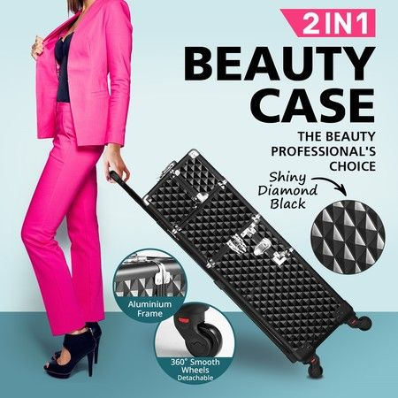 New Makeup Beauty Case Trolley 2in1 Cosmetics Storage Box Organiser Bags
