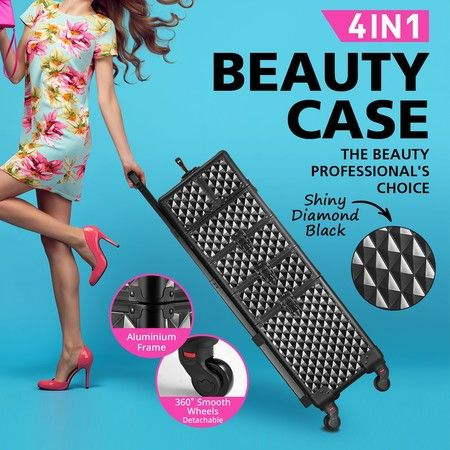 4in1 Professional Cosmetics Beauty Case Makeup Box Trolley Organiser Shiny Diamond Black