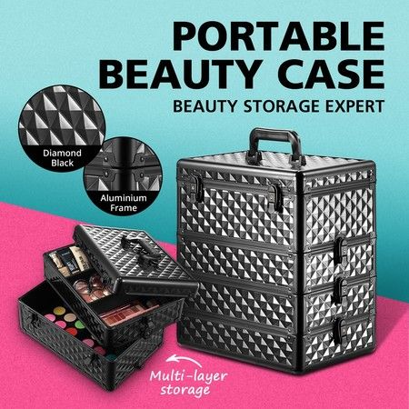 Professional Beauty Makeup Case Box Bags 4 Tiers Cosmetic Storage Portable Organiser