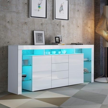 Sideboard Buffet Table Storage Cabinet High Gloss Front Cupboard w/2 Doors and 4 Drawers White