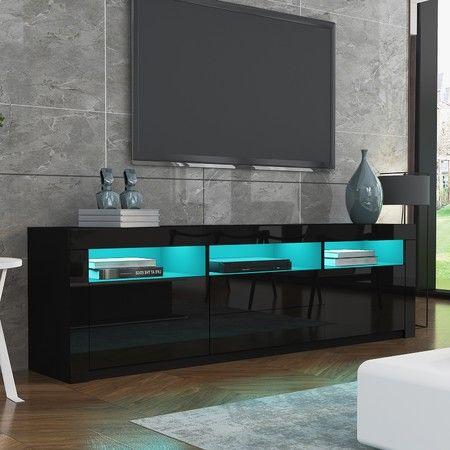 200cm Modern Wooden TV Unit Side Cabinet RGB LED High Gloss Front-Black | Crazy Sales