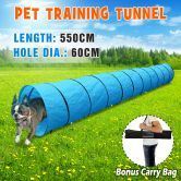 5.5M Portable Pet Dog Agility Training Exercise Tunnel Chute with Carry Bag