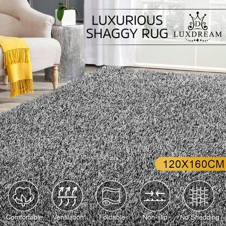 120x160cm Fluffy Shaggy Rug Shag Area Soft Carpet Home Bedroom Anti-Slip Floor Mat - White & Black