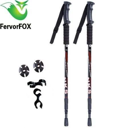 2Pcs/lot Anti Shock Nordic Walking Sticks Telescopic Trekking Hiking Poles Ultralight Walking Canes With Rubber Tips Protectors(Black)