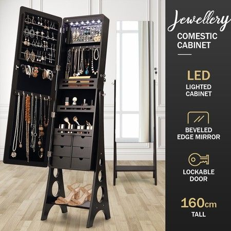Versatile Mirror Jewellery Cabinet w/ Auto LED light-Black