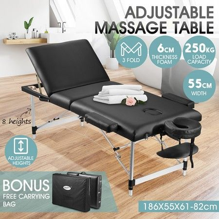 55cm Aluminium Massage Table Bed Therapy Equipment-Black