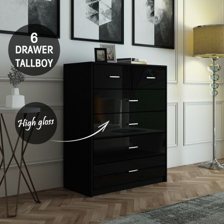 wholesale dealer a63ab 2f9ac 6 Chest of Drawers Tallboy Dresser Table High Gloss Storage Cabinet Bedroom  Furniture - Black