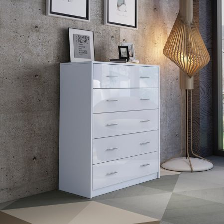 6 Chest of Drawers Tallboy Dresser Table High Gloss Storage Cabinet Bedroom Furniture - White