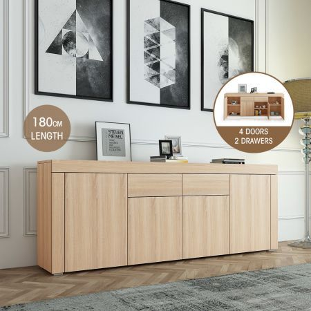 180cm Corner Cabinet Sideboard 4 Doors 2 Drawer-Oak