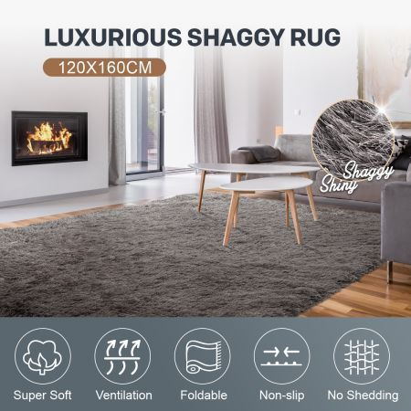 120x160cm Ultra Soft Shaggy Floor Rug Fluffy Shag Carpet Anti-Slip Area Bedroom Mat - Grey