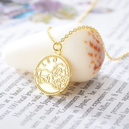 Leo-12 constellations Gold Plated 925 Silver Coin Pendant Necklace